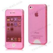 Front & Back Soft TPU Gel Case Cover for iPhone 4 4S - Pink