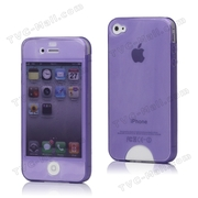 Front & Back Soft TPU Gel Case Cover for iPhone 4 4S - Purple